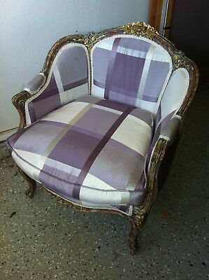 Beautiful Antique Louis XVI Style French Bergere Chair with Giltwood