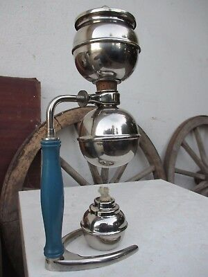 Vintage Beautiful With Holder Stove Brass Silverplate Vacuum Coffee Maker