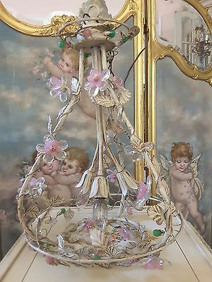 Vintage Italian Decorated Tole Cottage Pink Green Crystal Flowers Fab Chandelier