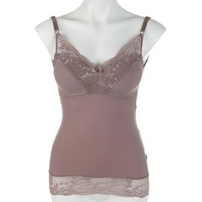 Rhonda Shear Cocoa Pin-up Girl Lace Cami Camisole New Built in Bra