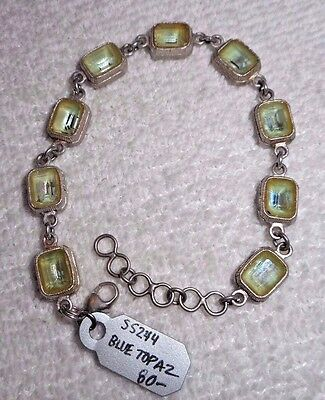 "Vtg Art Deco Pot Metal Blue Topaz Bracelet New Old Stock 7 1/2"" Handmade"