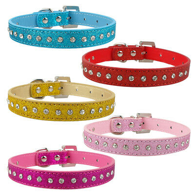 Cat Small Dog Collar Diamante Kitten Crystal Rhinestone Safety Bling PU Leather