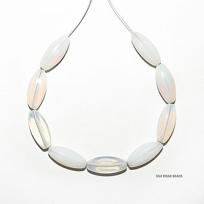 9 vintage czech white faceted dichroic & opalescent long oval glass beads #306f