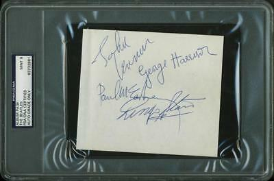 The Beatles (4) Authentic Signed 4.5X5 Album Page Graded Mint 9! PSA/DNA Slabbed