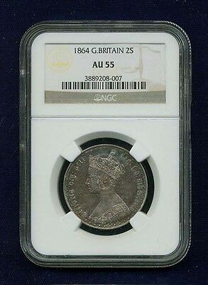 G.b./u.k./england Victoria  1864 1 Florin Silver Coin, Ngc Certified Au-55