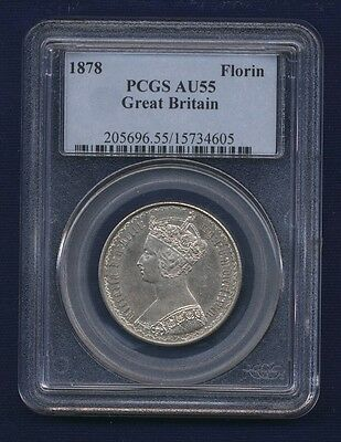 G.b./u.k./england Victoria  1878 1 Florin Silver Coin, Pcgs Certified Au-55
