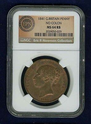 Great Britain Victoria  1841  1 Penny Coin, Uncirculated, Certified Ngc Ms64-Rb