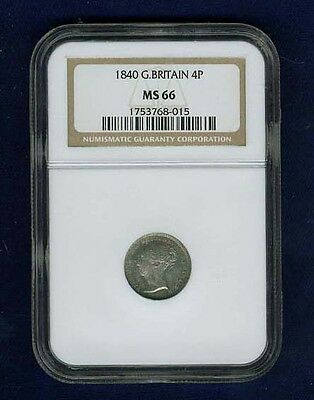 England Victoria 1840 4 Pence/groat Silver Coin Uncirculated, Ngc Certified Ms66