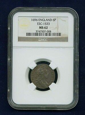 G.b./england William Iii  1696  Sixpence Coin, Uncirculated, Certified Ngc Ms62