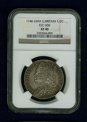 Great Britain  George Ii  1746/5-Lima  1/2 Crown,  Certified Ngc  Xf40
