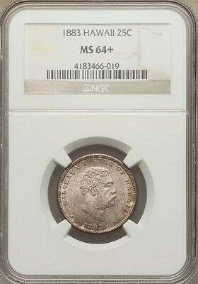 Hawaii Kalakaua I 1883 Quarter-Dollar /25 Cents Uncirculated Certified Ngc Ms64+