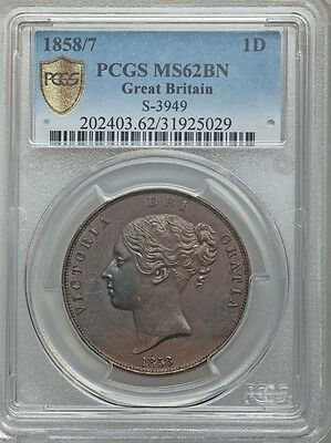 Great Britain Victoria 1858/7  1 Penny Coin Uncirculated, Certified Pcgs Ms62-Bn