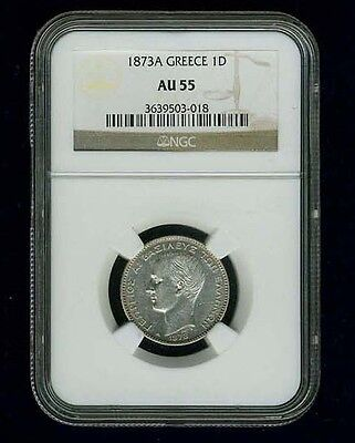 Greece  George I  1873-A  1 Drachma Silver Coin, Ngc Certified Au55