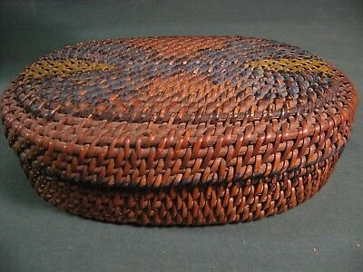 STURDY ANTIQUE CHINESE OVAL BAMBOO BASKET w/LID-