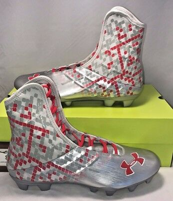 Under Armour Mens Size 16 Highlight Mc Football Cleats Silver Red Cam Newton