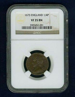 England Charles Ii  1673 1 Farthing Copper Coin, Very Fine, Certified Ngc Vf35