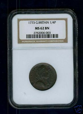 Great Britain George Iii 1773 Farthing Coin, Uncirculated, Certified Ngcms62