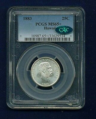 Hawaii Kalakaua I 1883 Quarter-Dollar/25 Cents Uncirculated Certified Pcgs Ms65+