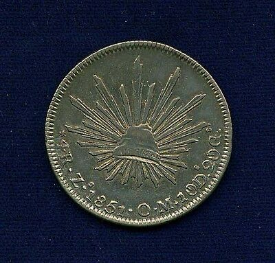 MEXICO  ZACATECAS MINT  1851-ZsOM  4 REALES SILVER COIN  XF/ALMOST UNCIRCULATED