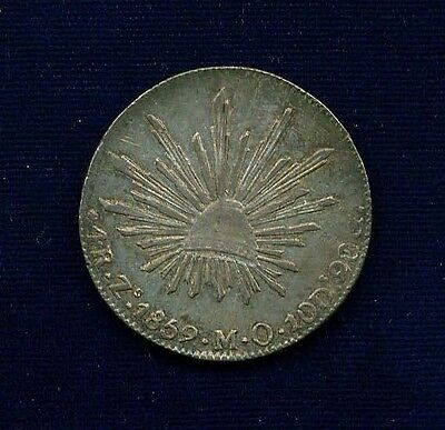 MEXICO  ZACATECAS MINT  1859-ZsMO  4 REALES SILVER COIN  ALMOST UNCIRCULATED