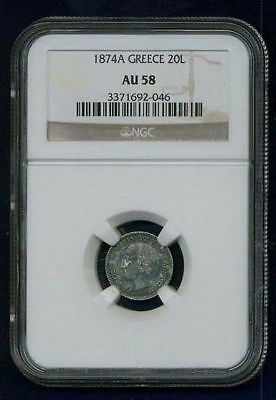 Greece Kingdom 1874  20 Lepta Silver Coin Almost Uncirculated Certified Ngc Au58