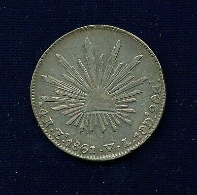 MEXICO  ZACATECAS MINT  1861-ZsVL  4 REALES SILVER COIN  XF++, 6/5 OVER-STRUCK!