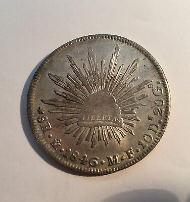 MEXICO - MEXICO CITY MINT 1846-MoMF 8 REALES SILVER COIN JUST ABOUT UNCIRCULATED