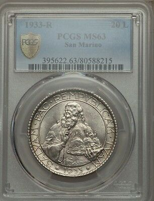 San Marino 1933-R  20 Lire Silver Coin, Choice Uncirculated, Pcgs Certified Ms63