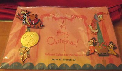 Disney pin Set Christmas Ornament Dale Advent Card Pooh Tigger Sing Donald Duck+