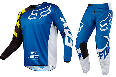 Fox Racing 180 Race Jersey and Pant Combo Blue Youth Sizing MX ATV F18Y1802