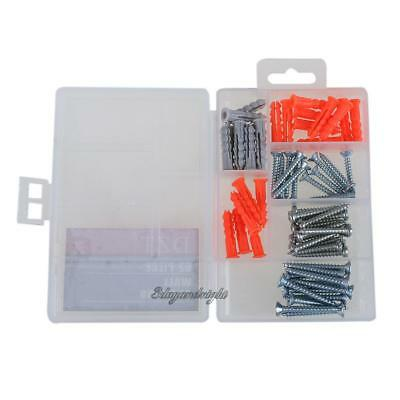 62pcs Wall Anchor Expansion Screw Small Screws Hardware Clear NIGH