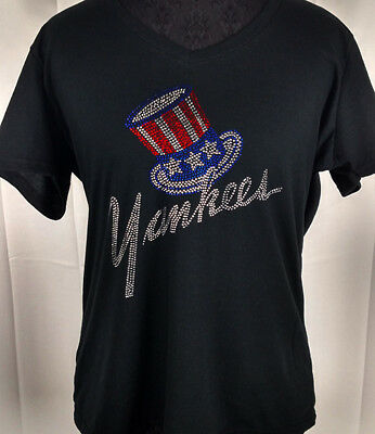 quality design 291ca c1146 WOMEN'S NEW York Yankees Rhinestone Baseball V-neck T-Shirt ...