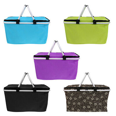 Large Size Insulated Cooler Bag Folding Collapsible 32L Picnic Basket Zipper