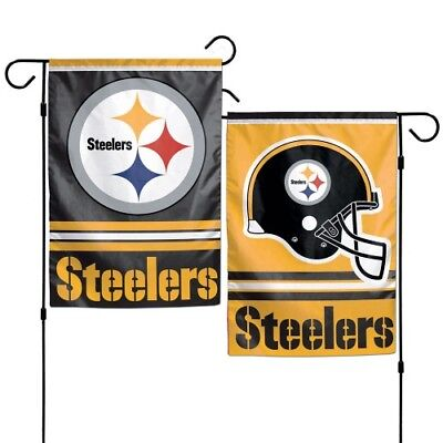 "Pittsburgh Steelers Polyester 12""X18"" 2 SIDED Garden Yard Wall Flag NFL Hologram"