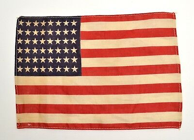"""Antique 48 STAR US FLAG WWII Era Correct, Small 7"""" X 10"""" (Stains, Holes) 0924-15"""