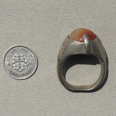 an old antique silver ring inset with agate carnelian nigeria #55