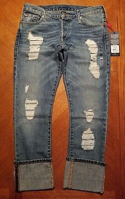 NWT $229.00 True Religion Womens Blues Revival Liv Low Rise Relaxed Skinny Jeans