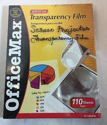 """New Office Max Transparency Film 110 Count..8 1/2"""" by 11""""  W1100MX"""