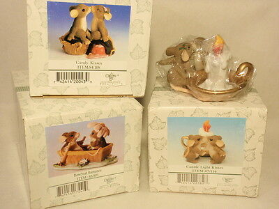 Charming Tails Mouse Figurine Lot 3: Rowboat Romance, Candy Kisses, Candle Light