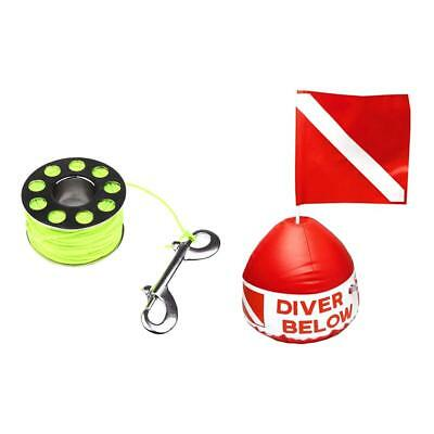 Red & White Scuba Flag Marker with Buoy+ 31m 2mm Diving Spool with Bolt Snap