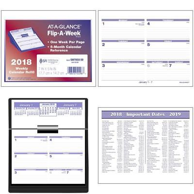 """At-A-Glance Weekly Refill, January 2018 - December 2018, 5-5/8"""" X 7"""", Flip-A-Wee"""