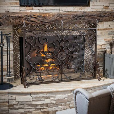 Copper Brown Finish Fireplace Screen Single Panel Victorian Antique Wrought Iron
