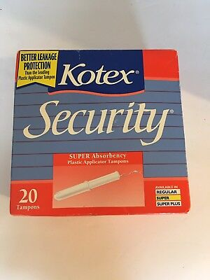Vintage 1994  Kotex Security Tampons 25 Count Box Super Absorbency