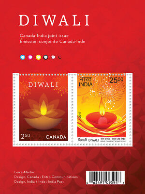 Stamp Pickers Canada Post India 2017 Diwali Joint Issue Souvenir Sheet MNH