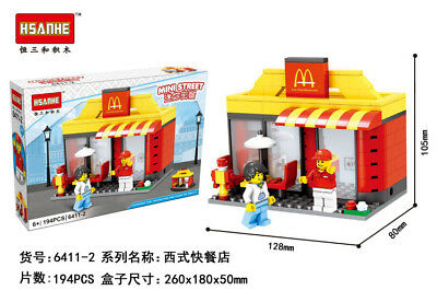 HSANHE Minifigure Street Diamond Building Mini Figure Fast food Shop w Minifig