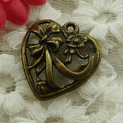 free ship 102 pieces bronze plated heart charms 25x22mm #3000