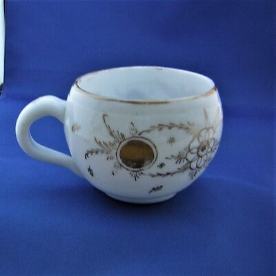 ANTIQUE LARGE TURKISH BEYKOZ GLASS CUP - White Gilt Decorated Milk Glass 19 Cen.