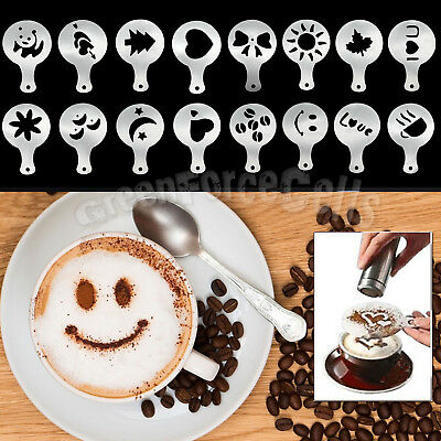 16pcs Coffee Cake Cupcake Cappuccino Latte Decorating Stencil Template Mold Tool