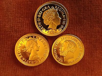 3 Gold Plated Sovereigns (reproduction).