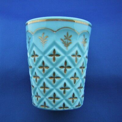 ANTIQUE TURKISH BEYKOZ GLASS BEAKER - Gilt Decorated Milk Glass 19 / 20 Century.